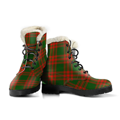 Menzies Green Modern Tartan Boots For Women