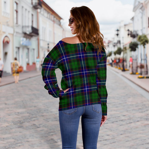 Image of Tartan Womens Off Shoulder Sweater - Russell Modern - BN