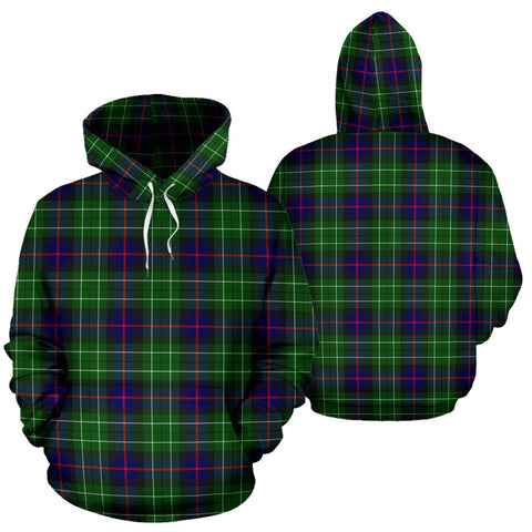 Image of Leslie Hunting Tartan Hoodie, Scottish Leslie Hunting Plaid Pullover Hoodie