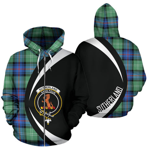 Sutherland Old Ancient Tartan Circle Zip Hoodie HJ4