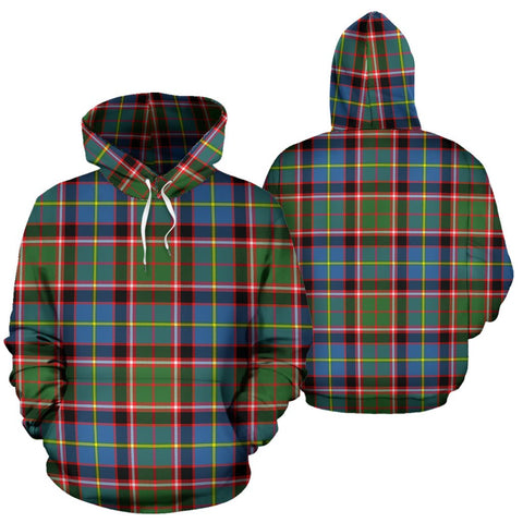 Stirling & Bannockburn District Tartan Hoodie, Scottish Stirling & Bannockburn District Plaid Pullover Hoodie