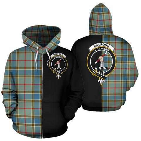 (Custom your text) Balfour Blue Tartan Hoodie Half Of Me TH8