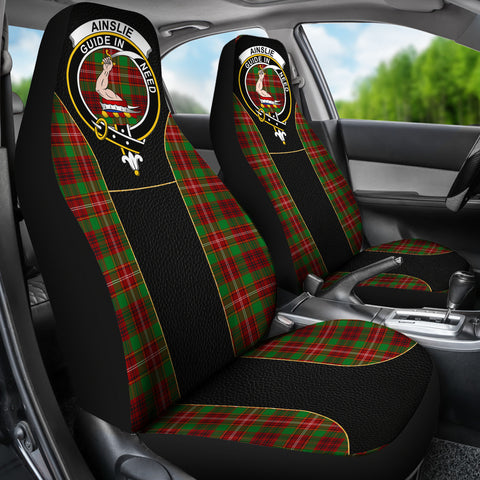 Ainslie Tartan Car Seat Cover Clan Badge - Special Version