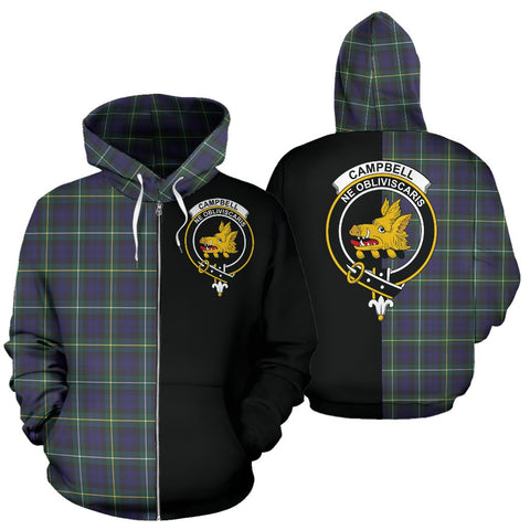 (Custom your text) Campbell Argyll Modern Tartan Hoodie Half Of Me TH8