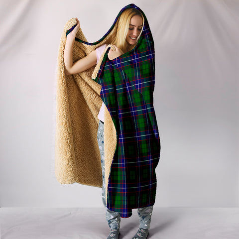 Image of Russell Modern, hooded blanket, tartan hooded blanket, Scots Tartan, Merry Christmas, cyber Monday, xmas, snow hooded blanket, Scotland tartan, woven blanket