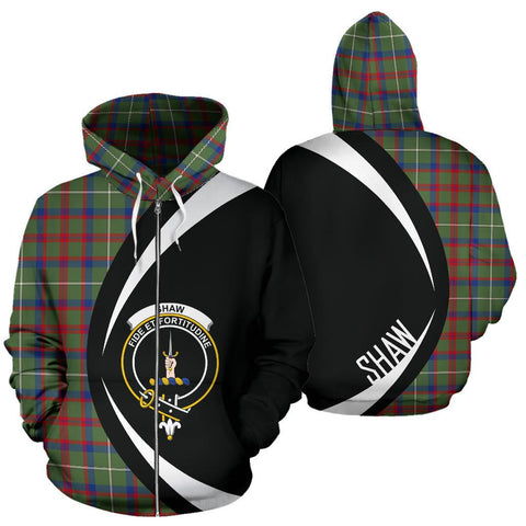 Image of Shaw Green Modern Tartan Circle Zip Hoodie HJ4