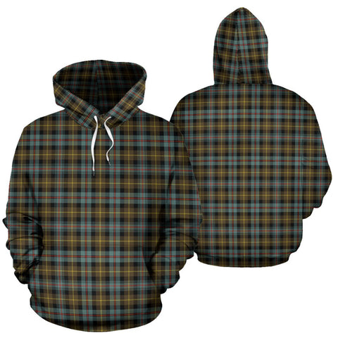 Image of Farquharson Weathered Tartan Hoodie, Scottish Farquharson Weathered Plaid Pullover Hoodie