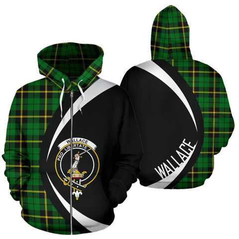 Wallace Hunting - Green Tartan Circle Zip Hoodie HJ4