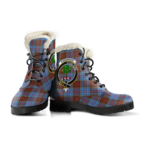 Anderson Modern  Tartan Faux Fur Leather Boots