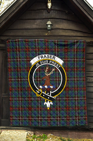 Fraser Hunting Ancient Tartan Clan Badge Premium Quilt TH8