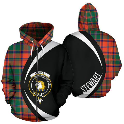 Stewart of Appin Ancient Tartan Circle Zip Hoodie HJ4