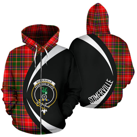 Image of Somerville Modern Tartan Circle Zip Hoodie HJ4