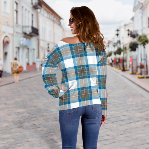 Tartan Womens Off Shoulder Sweater - Stewart Muted Blue - BN