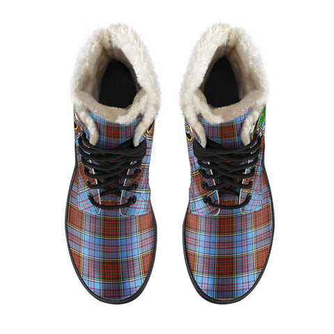 Image of Anderson Modern  Tartan Faux Fur Leather Boots