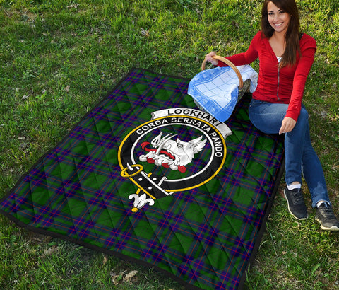 Lockhart Modern Tartan Clan Badge Premium Quilt TH8