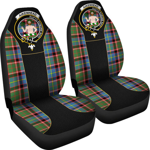 Image of Aikenhead Tartan Car Seat Cover Clan Badge - Special Version