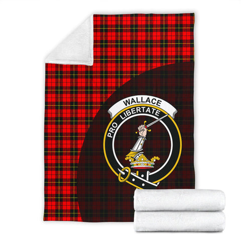 Wallace Hunting - Red Tartan Clan Badge Premium Blanket Wave Style TH8