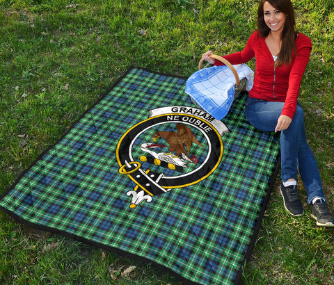 Graham of Montrose Ancient Tartan Clan Badge Premium Quilt TH8
