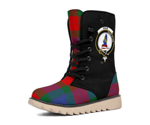 Tartan Women's Snow Boots - Clan Mar Boots Side Crest - BN