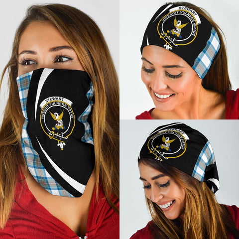 Stewart Muted Blue Tartan Bandana Circle Hj4