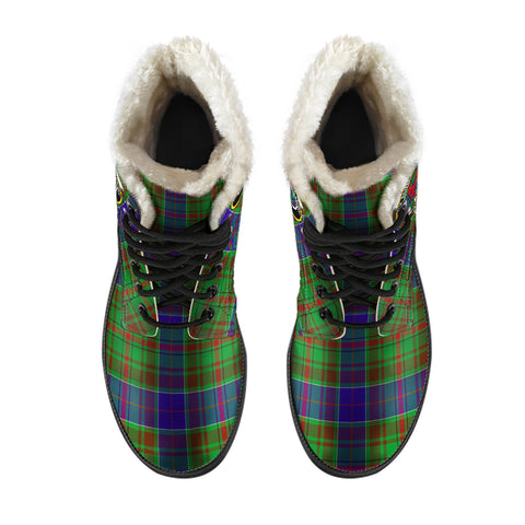 Adam Tartan Faux Fur Leather Boots