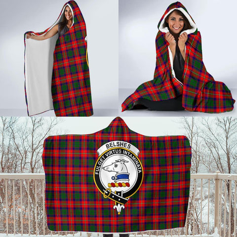Belshes Clans Tartan Hooded Blanket - BN