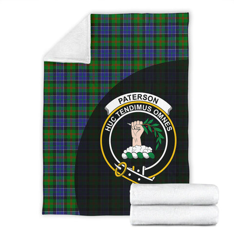 Paterson Tartan Clan Badge Premium Blanket Wave Style TH8