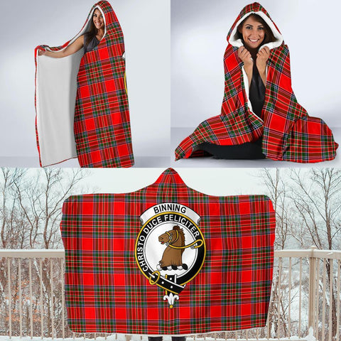 Binning (of Wallifoord) Clans Tartan Hooded Blanket - BN