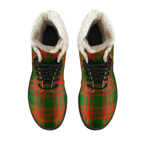 Menzies Green Modern Tartan Boots For Men