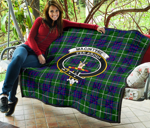 MacIntyre Hunting Modern Tartan Clan Badge Premium Quilt TH8