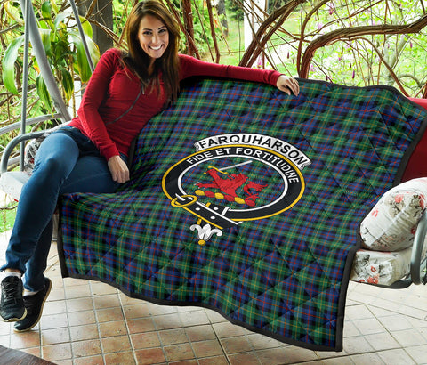 Farquharson Ancient Tartan Clan Badge Premium Quilt TH8