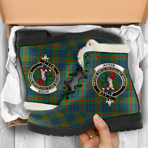 Aiton  Tartan Faux Fur Leather Boots