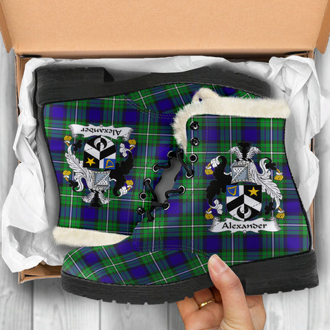 Image of Alexander  Tartan Faux Fur Leather Boots