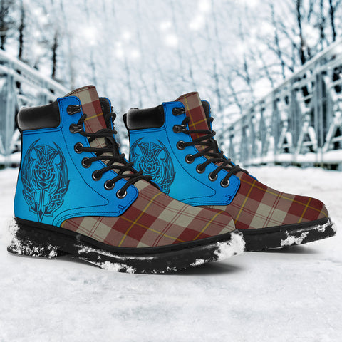 Image of Cunningham Burgundy Dancers Tartan All-Season Boots - Celtic Thistle TH8