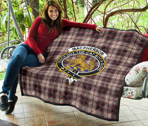 MacPherson Weathered Tartan Clan Badge Premium Quilt TH8