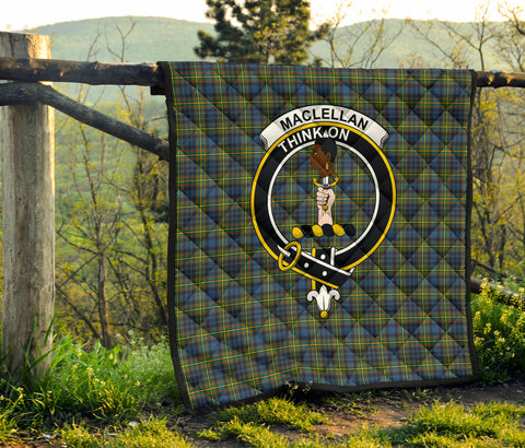 MacLellan Ancient Tartan Clan Badge Premium Quilt TH8