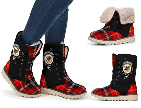 Tartan Women's Snow Boots - Clan Marjoribanks Boots Side Crest - BN