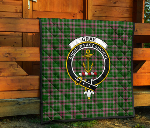 Gray Hunting Tartan Clan Badge Premium Quilt TH8