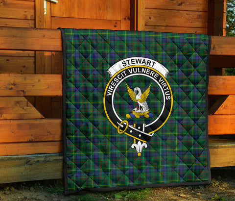 Stewart Hunting Modern Tartan Clan Badge Premium Quilt TH8