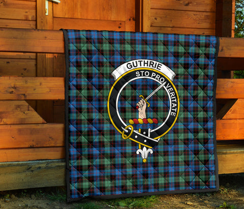 Image of Guthrie Ancient Tartan Clan Badge Premium Quilt TH8