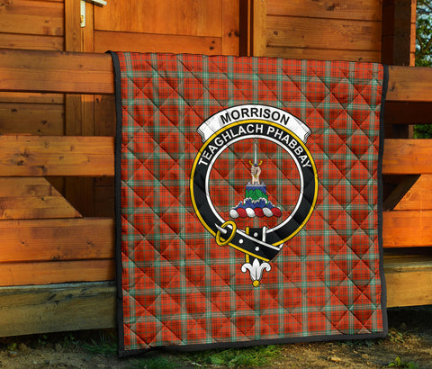 Image of Morrison Red Ancient Tartan Clan Badge Premium Quilt TH8