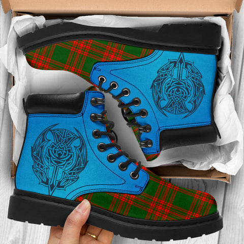 Image of Menzies Green Modern Tartan All-Season Boots - Celtic Thistle TH8