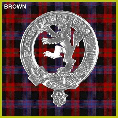 Brown Tartan Clan Crest Badge Leather Sporran TH8