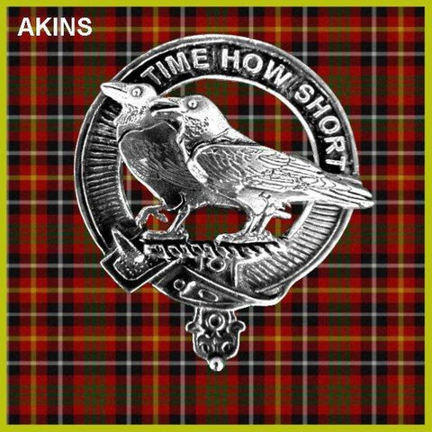Akins Tartan Clan Crest Interlace Kilt Belt Buckle TH8