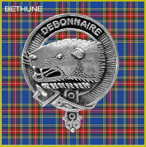 Bethune Tartan Clan Crest Interlace Kilt Belt Buckle TH8