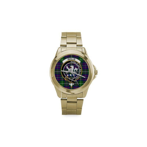 Inglis Modern Tartan Clan Badge Custom Gilt Watch Th1 One Size / Custom Gilt Watch Steel Watches