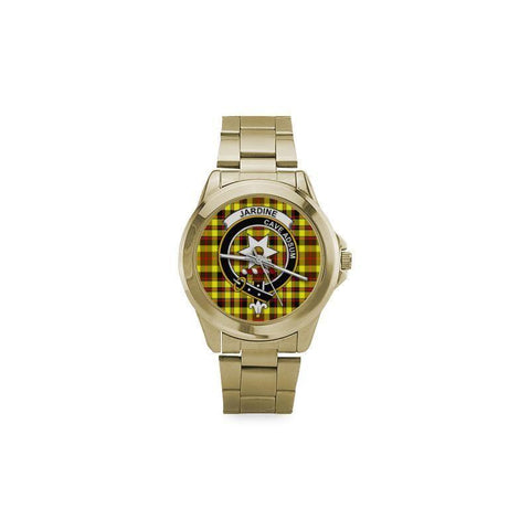 Jardine Tartan Clan Badge Custom Gilt Watch Th1 One Size / Custom Gilt Watch Steel Watches