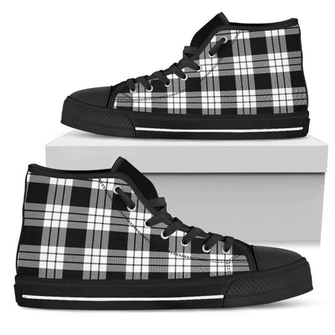 Tartan Canvas Shoes - Macfarlane Black & White Ancient High Top | Over 500 Tartans