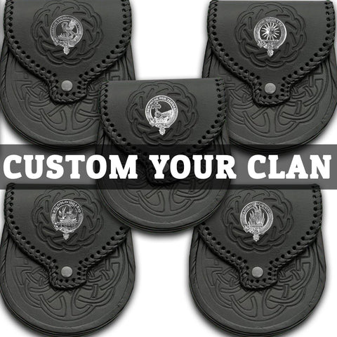 (Custom Scottish Clans) Tartan Clan Crest Leather Sporran