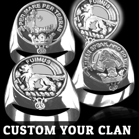 (Custom Scottish Clans) Tartan Inscribed Rings - Tartan Ring Clan Crest Sterling Silver
